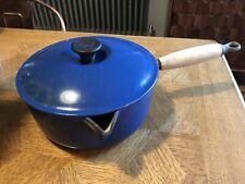 Blue Le Creuset enamel cast iron pan & lid size 22cm wooden handle