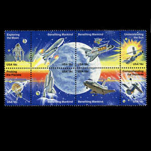 Space Exploration Moon Saturn Se-tenant Block of 8 mnh stamps 1981 USA #1919a
