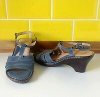 Moshulu Colours Blue Leather Heeled Sandals UK 8 Worn Once Open toe Strap