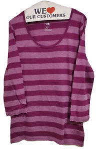 The North Face Womens Size M Striped Base Layer Long Sleeve Shirt T-shirt Top