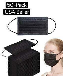 50 PCS Black 3-Ply Disposable Face Mask Non Medical Surgical Earloop Mouth Cover