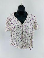 Carole Hochman Women's Top Blouse Floral Front Button Short Sleeve Cotton Size M