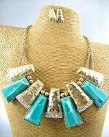 Elegant Chunky Colored Beads Gold Necklace Earrings Set Costume Women Jewelry