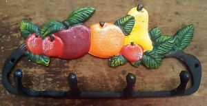 FRUIT 4 HOOK BATHROOM or KITCHEN Towel Hanger rustic farmhouse country cast iron