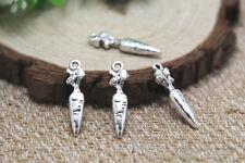 20pcs carrot charm Antique Tibetan Silver carrot pendants charms 25x6mm