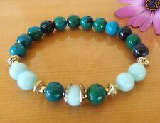 Chrysocolla Amazonite 8mm Gemstone Bracelet Depression Healing Yoga Jewellery