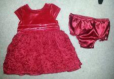 NWT RED ROSETTE Christmas DRESS Size 9 Months Velvet S/S PHOTO OP