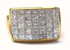 Fine 18Kt Inivisble Diamond Square Yellow Gold Jewelry Ring 1.48CT