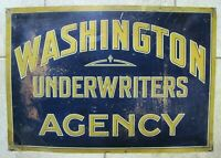 WASHINGTON UNDERWRITERS AGENCY Old Sign Insurance Co Ad Metallograph Corp NY