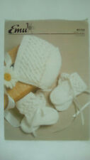 Vintage Knitting Pattern Emu 8732 Baby hat gloves boots