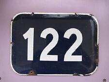 Genuine BIG vintage SRAELI enamel porcelain number 122 house sign # 122