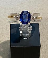 9ct yellow gold ~ Sapphire & Diamond Ring ~ Size S