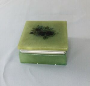 Vintage Jadeite Jewelry Trinket Box Floral Green