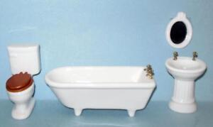4 PIECE BATHROOM SET PORCELAIN #352 DOLLHOUSE FURNITURE  MINIATURES