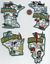 WISCONSIN ILLINOIS  MINNESOTA  MICHIGAN   JUMBO  STATE  FOUR  MAGNETS 7 COLOR