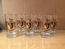 Set of 6 Drinking Glasses with Gold Trim and Crest