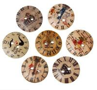 12PCS Wood Round Clock Print Two Hole Flat Buttons Sewing Craft DIY 20MM/32L