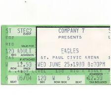 The Eagles Concert Ticket Stub St Paul Mn 6/25/80 Civic Center The Long Run Tour