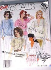 McCALLS Sewing Pattern No.3276 LADIES Blouse short & long sleeves slze Large