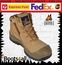 Mongrel Work Boots Zip Safety Steel Toe Wheat Scuff Cap 461050