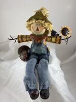 Scarecrow with Turkey & Sunflower  Thanksgiving Shelf Sitter Figurine Decor