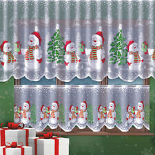 """Cafe Net Curtain Christmas Snowman Pattern DROP 23"""" OR 42""""  WIDTH SOLD BY METRES"""