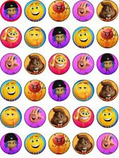 30 x Emoji Edible Cupcake Toppers Party Decoration PRECUT