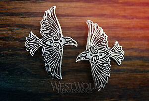Celtic / Viking Flying Raven Pin -- Norse/Crow/Medieval/Silver/Coat/Cloak/Brooch