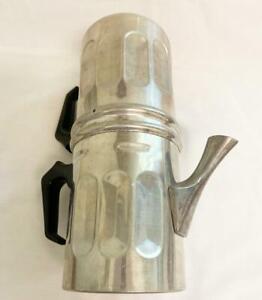 """Vintage Aluminum IL-SA Torino Flip Drip Coffee Espresso 8"""" Maker Made in Italy"""