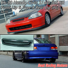 SiR Style Front + TR Style Rear Lip (PU) + Grill (ABS) Fit 96-98 Civic 4dr