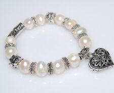 BRAND NEW GENUINE WHITE FRESHWATER PEARL & SILVER PLATED HEART STRETCH BRACELET