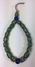 Old Antique Venetian French Cross Barrel Peking Blue Green African Trade Beads