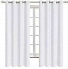Curtains White Solid 50% Light Blocking 100% Polyester Fabric All Sizes Grommet