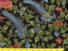 Gold Accented Blue Oriental Peacock & Flowers Quilting Fabric by Yard  #946