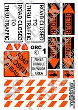 SCALELIKE INDUSTRIES O-ROAD CONST SIGNS 1 (ORC-1) PRINTED ON PLASTIC FACTORY NEW