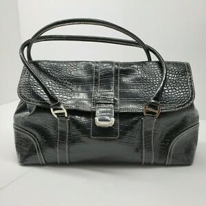 Liz Claiborne Black Faux Leather Croc Embossed Satchel Purse Handbag