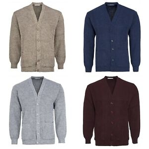 Mens Classic V-Neck Cardigan with Pockets Vintage Grandad Knitted Bellissimo