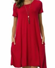 NWT COREAL RED Short Sleeve Pockets Loose Swing Casual Dress XL