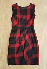 Hobbs Red Tartan Check Shift Dress wool blend size 8