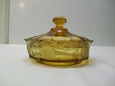 Vintage Fostoria Coin Glass Amber Candy Jar with Cover