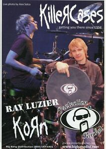 2009 small Print Ad of Protection Racket Killer Drum Cases w Ray Luzier Korn