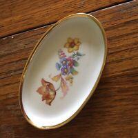 Vtg Danmark Trinket Dish Porcelain Denmark Floral pattern trimmed in gold White