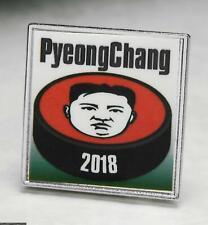 BADGE PIN OLYMPIC 2018 PYEONGCHANG SOUTH KOREA KIM JONG UN ON HOCKEY PUCK
