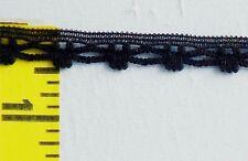 "3/8"" Black Lace Trim Cotton Cluny Lace Edging Crochet Lace Edging 10 yds #N21"