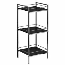3 Tier Black High Gloss Shelf Shelving Storage Unit With Chrome Finish Frame