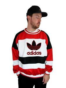 Vintage Adidas Men's Trefoil Run DMC Sweatshirt Large Striped Spell Out Red 80s