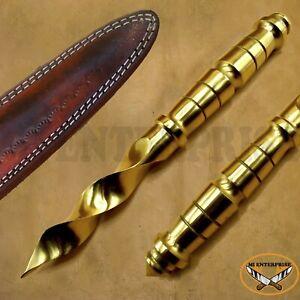 Custom Handmade Brass Blade Hunting Dagger Spiral Knife Golden