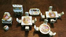 Lot Vintage Limoges France Miniature Porcelain Dollhouse Furniture set & piano