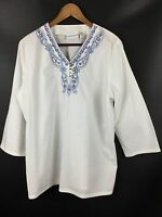 Alfred Dunner Size 14 Boho Tunic Top Embroidered NEW Shirt White Cotton 3/4 Slv