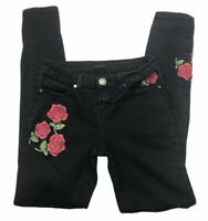 Silver Crush Womens Black Jeans Embroidered Roses Size 1/2